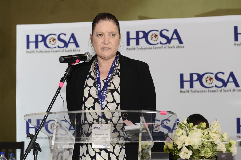 Ms Melissa De Graaff as the Acting HPCSA Registrar/CEO